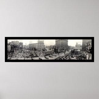 Army Parade Detroit Photo 1914 Poster