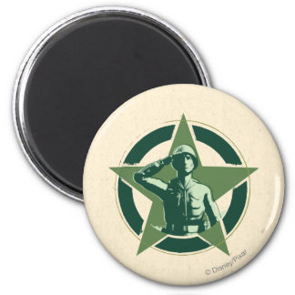 Army Sarge Salutes 2 Inch Round Magnet