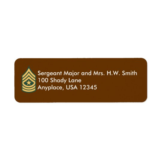 Army Sergeant Major Address Label