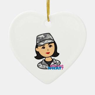 Army Urban Camo Head Medium Ceramic Heart Ornament