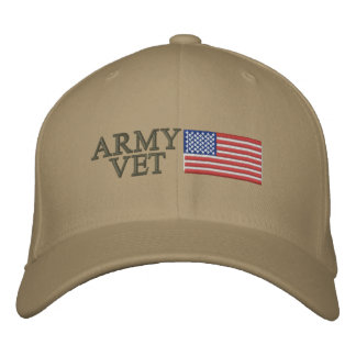 Army Vet with American Flag Embroidered Baseball Cap