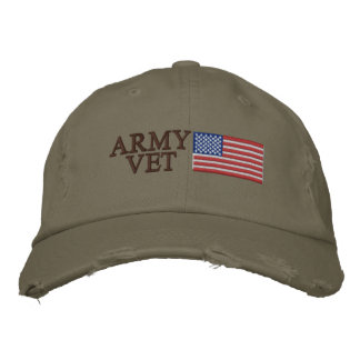 Army Vet with American Flag Patriotic Military Embroidered Hat