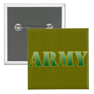 Army w/Green Text 2 Inch Square Button