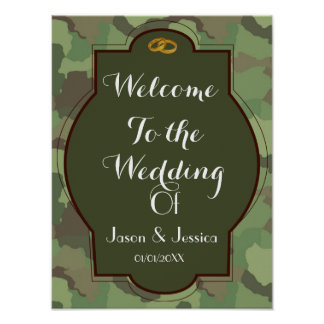 Army wedding themed wedding welcome poster print