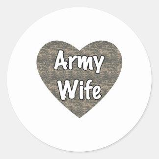 Army Wife ACU Heart Classic Round Sticker