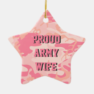 Army Wife | Pink Camo Custom Name Double-Sided Ceramic Ornament