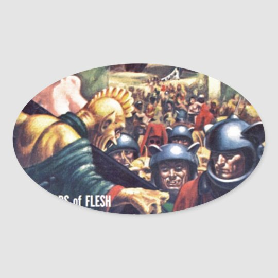 Army with Funn y Helmets Oval Sticker