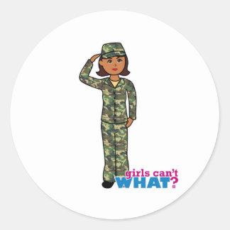 Army Woodland Camo Dark.png Round Sticker