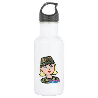 Army Woodland Camo Head Light Blonde 18oz Water Bottle