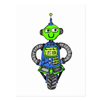 Arnie robot, blue and green postcard