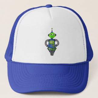 Arnie robot, blue and green trucker hat