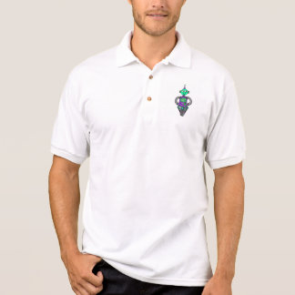 Arnie robot, purple and green polo shirt