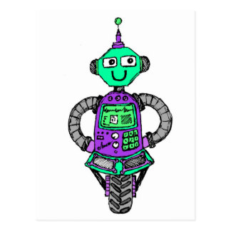 Arnie robot, purple and green postcard