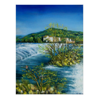 ARNO RIVER AT ROVEZZANO Florence Italy Poster