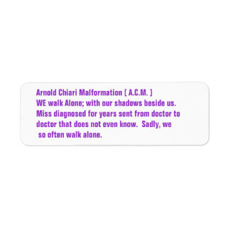 Arnold Chiari Malformation Awareness Return Address Label