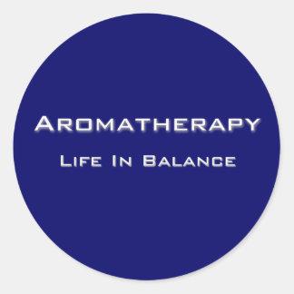 Aromathérapie - texte blanc sticker rond