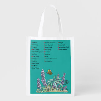 Aromatherapy Essential Oils Flower Butterfly Print Grocery Bag