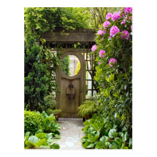 Around Britain,   Garden Gate, country garden Postcard