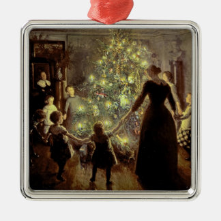 Around the Christmas Tree Silver-Colored Square Ornament