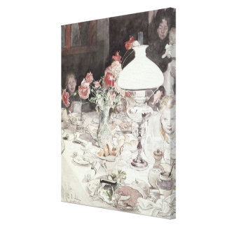 Around the Lamp at Evening, 1900 (w/c on paper) Canvas Print