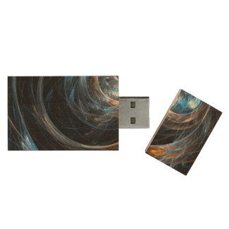 Around the World Abstract Art Wood USB 2.0 Flash Drive