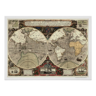 Around the World Drake Map - 1595 Poster