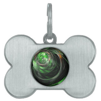 Around the World Green Abstract Art Pet ID Tag