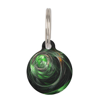 Around the World Green Abstract Art Round Pet Tag