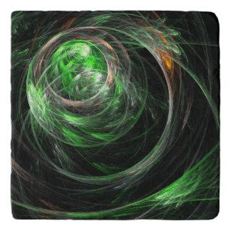 Around the World Green Abstract Art Stone Trivet
