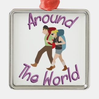 Around the World Silver-Colored Square Ornament