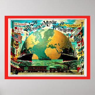 Around The World Voyage Vintage Travel Poster