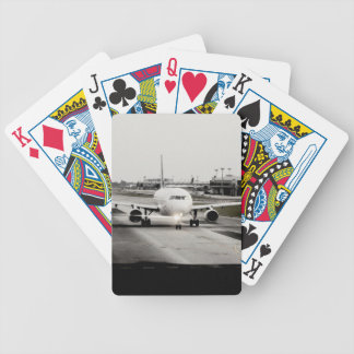 Arplane on runway for take off bicycle playing cards