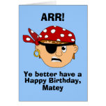 Arr Pirate Boy Funny Birthday Card Template