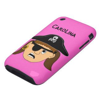 Arr Pirate Girl Cute Customizable Custom Name Tough iPhone 3 Case