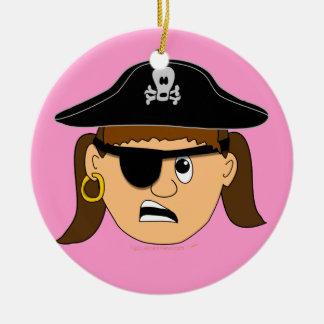 Arr Pirate Girl Cute Customizable Kid Pirate Stuff Ceramic Ornament