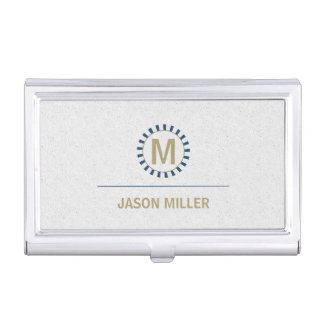 Array and Line Monogram Professional Blue ID313 Business Card Holder