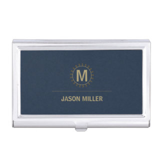 Array and Line Monogram Professional Gold ID313 Business Card Holder