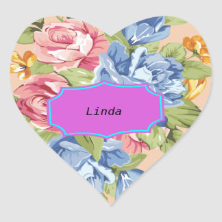 Array Of Flowers With Name Plate Heart Sticker