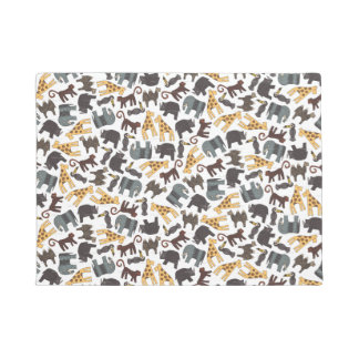 Array of illustrated safari animals doormat