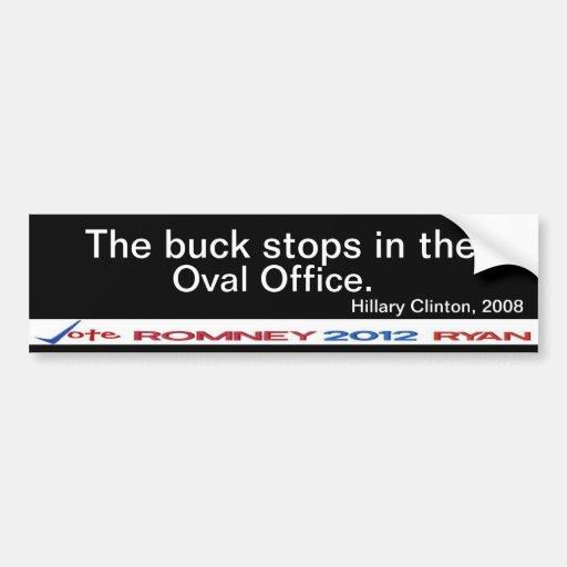 Arrêts de mâle dans l'autocollant ovale de Hillary Autocollants Pour Voiture
