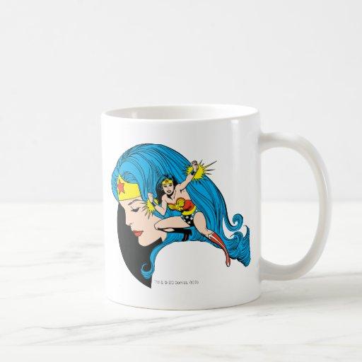 Arrière - plan de profil de femme de merveille mugs à café