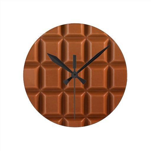 Arrière - plan d'une barre de chocolat horloge