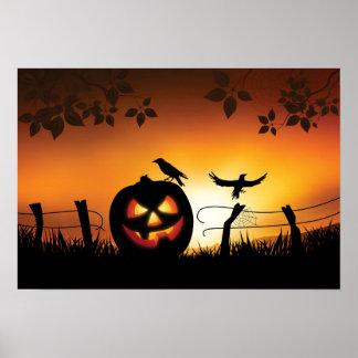 Arrière - plan orienté effrayant de Halloween Poster