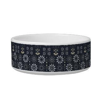 Arrow boho tribal black white pattern cat food bowl