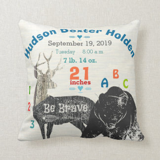 Arrow Boy Forest Nursery Baby Birth Stat Bear Deer Throw Pillow