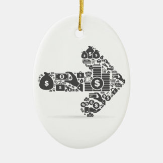 Arrow business ceramic oval ornament