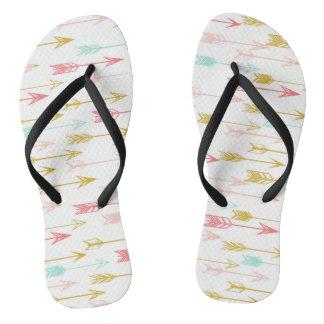 Arrow Coral Pink Mint Yellow / Andrea Lauren Flip Flops