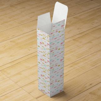 Arrow Coral Pink Mint Yellow / Andrea Lauren Wine Gift Box