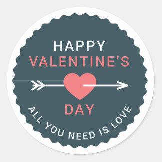 Arrow Heart Happy Valentine's Day Classic Round Sticker