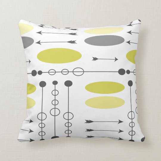Arrow Mid-Century Grey Yellow Arrows and Circles Throw Pillow